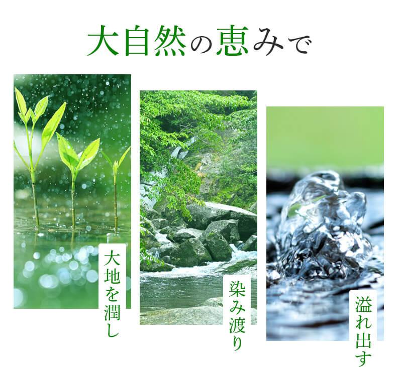 大自然の恵みで 大地を潤し 染み渡り 溢れ出す